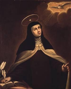 Heilige Teresia von Avila, Darstellung mit Taube und Schriftfeder.