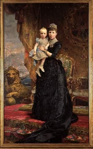 Maria Christina von Spanien, Regentin, mit ihrem Sohn König Alfons XIII. von Spanien.