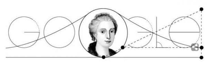 Google Doodle zum 296. Geburtstag von Maria Gaetana Agnesi. 16. Mai 2014.
