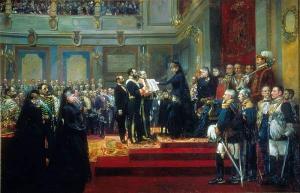 Königin Maria Christina schwört auf die spanische Verfassung. An der Seite ihre Tochter Maria de las Mercedes.